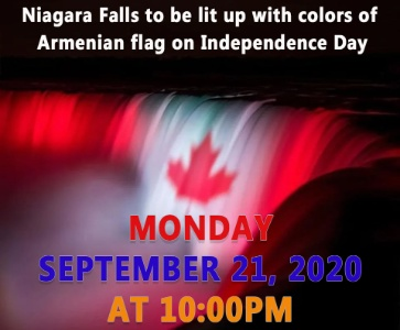 Niagara Falls to be lit up with colors of Armenian flag on Independence Day